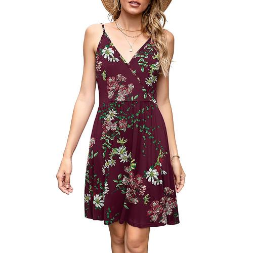Wine Red Floral Print V Neck Slip Dress TQK310531-103