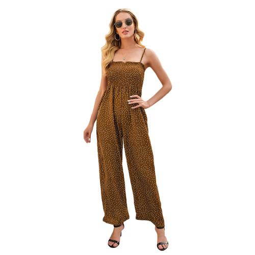 Brown Polka Dot Wide Leg Jumpsuit TQK550225-17