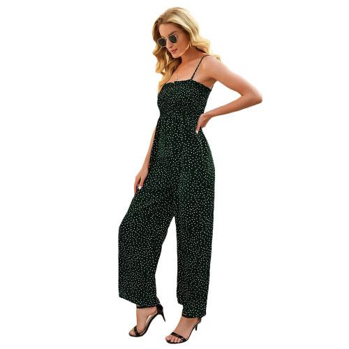 Dark Green Polka Dot Wide Leg Jumpsuit TQK550225-36