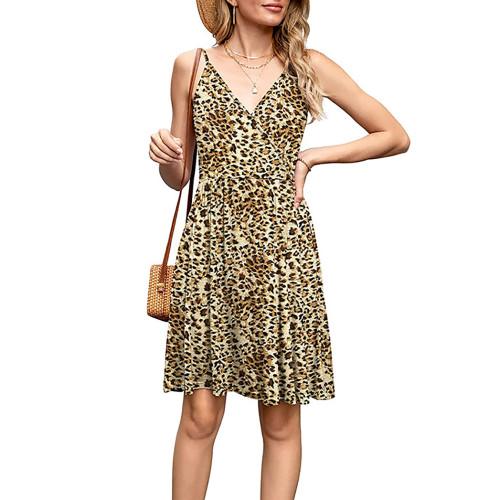 Leopard Print V Neck Slip Dress TQK310531-20
