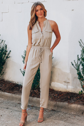 Button Front Patch Pockets Sleeveless Jumpsuit LC641689-18