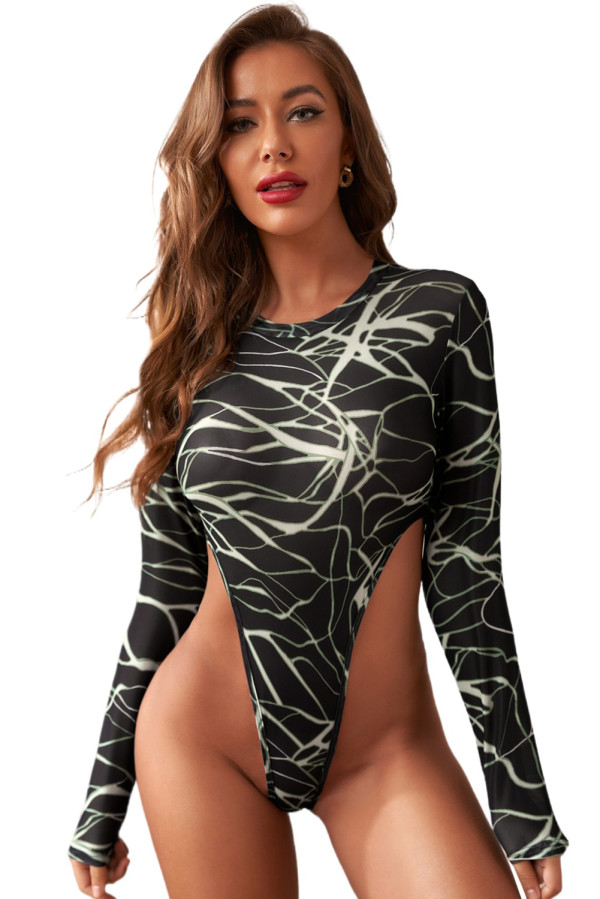Abstracted Print High Cut Long Sleeve Bodysuit LC32680-2