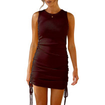 Wine Red Sides Drawstring Sleeveless Bodycon Dress TQK310537-103
