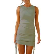 Pea Green Sides Drawstring Sleeveless Bodycon Dress TQK310537-64