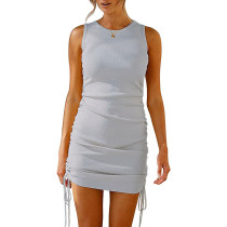 Light Gray Sides Drawstring Sleeveless Bodycon Dress TQK310537-25