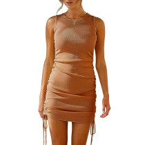 Khaki Sides Drawstring Sleeveless Bodycon Dress TQK310537-21