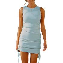 Light Blue Sides Drawstring Sleeveless Bodycon Dress TQK310537-30