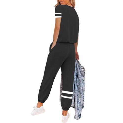 Black Colorblock Short Sleeve Longewear Pant Set TQK710305-2