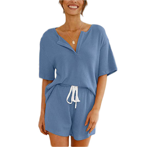 Blue V Neck Top With Shorts Loungewear Set TQK710304-5