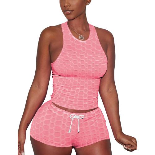 Pink Jacquard Sleeveless Tank And Shorts Set TQK710306-10