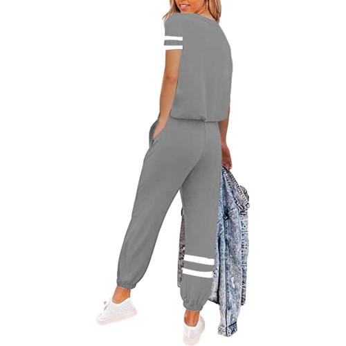 Gray Colorblock Short Sleeve Longewear Pant Set TQK710305-11