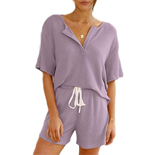 Light Purple V Neck Top With Shorts Loungewear Set TQK710304-38