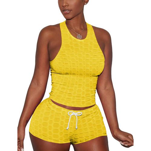 Yellow Jacquard Sleeveless Tank And Shorts Set TQK710306-7