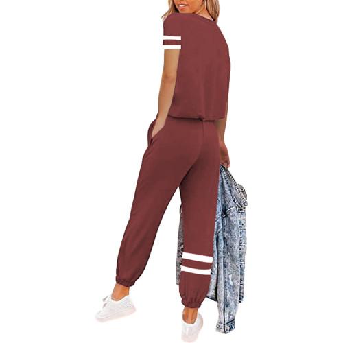 Rust Red Colorblock Short Sleeve Longewear Pant Set TQK710305-33