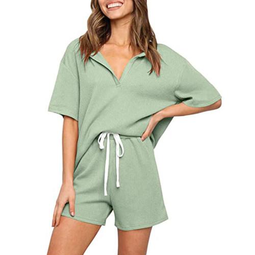Light Green V Neck Top With Shorts Loungewear Set TQK710304-28