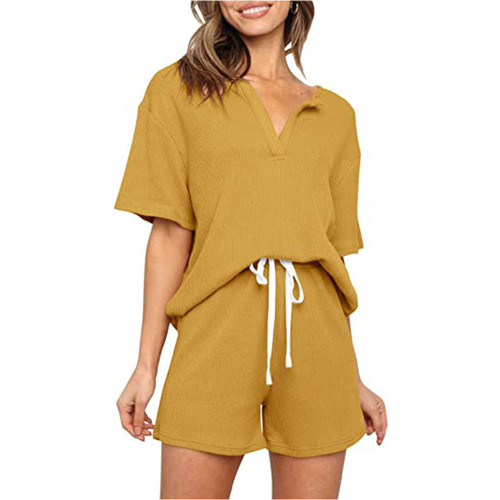 Yellow V Neck Top With Shorts Loungewear Set TQK710304-7