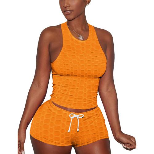 Orange Jacquard Sleeveless Tank And Shorts Set TQK710306-14