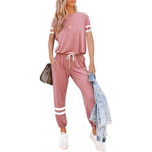 Pink Colorblock Short Sleeve Longewear Pant Set TQK710305-10