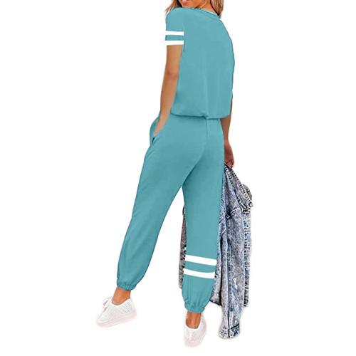 Aquamarine Colorblock Short Sleeve Longewear Pant Set TQK710305-45