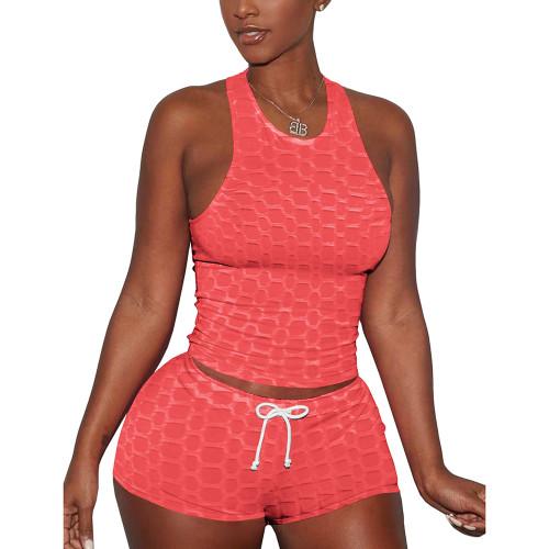 Tangerine Jacquard Sleeveless Tank And Shorts Set TQK710306-55