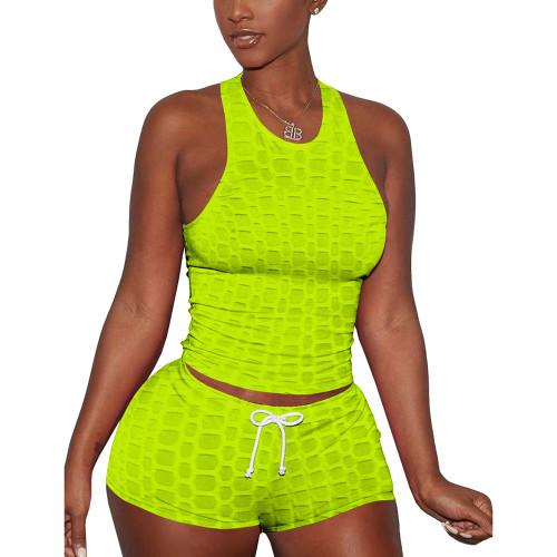 Fluorescent Green Jacquard Sleeveless Tank And Shorts Set TQK710306-57