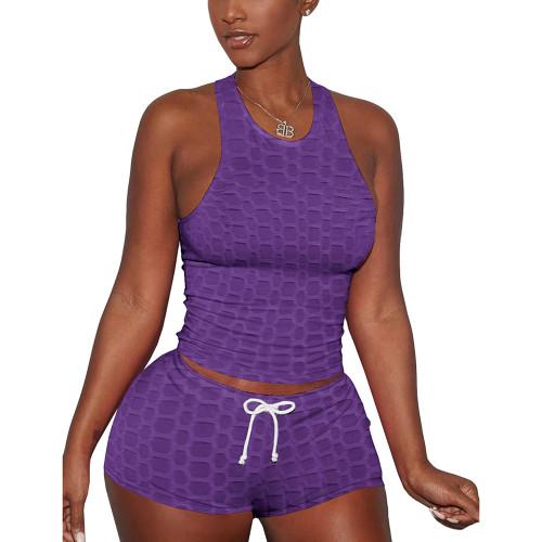 Purple Jacquard Sleeveless Tank And Shorts Set TQK710306-8