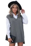 Gray Knit Vest Pullover Sweater LC272963-11