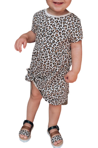 Little Girls' Leopard Print Short Sleeve Mini Dress TZ61108-20
