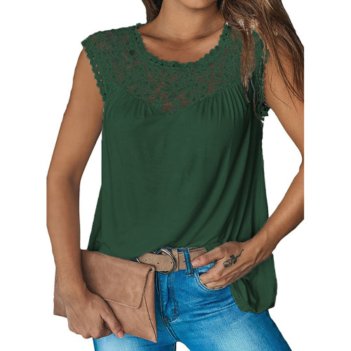 Green Sleeveless Top with Lace Details TQK250128-9