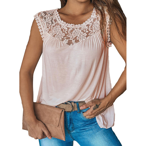 Light Pink Sleeveless Top with Lace Details TQK250128-39