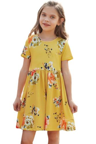 Yellow Short Sleeve Pocketed Children's Floral Dress TZ61103-7