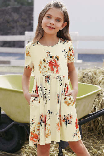 Short Sleeve Pocketed Children's Floral Dress TZ61103-1