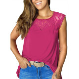 Rosy Sleeveless Top with Lace Details TQK250128-6