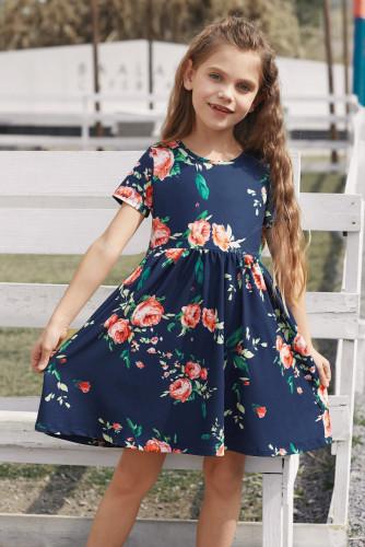 Blue Short Sleeve Pocketed Children's Floral Dress TZ61103-5