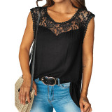 Black Sleeveless Top with Lace Details TQK250128-2