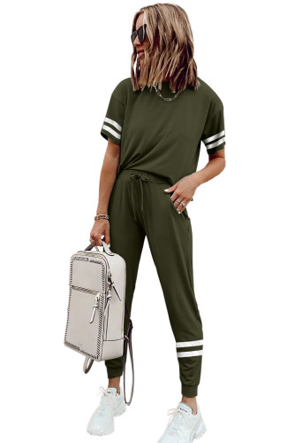 Green Striped Accent Short Sleeve and Joggers Set LC261289-9