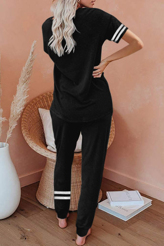 Black Striped Accent Short Sleeve and Joggers Set LC261289-2