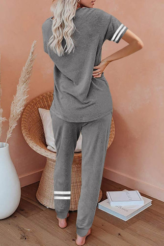 Gray Striped Accent Short Sleeve and Joggers Set LC261289-11