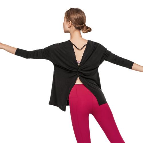 Black Butterfly Back Long Sleeve Yoga Tee TQE17165-2