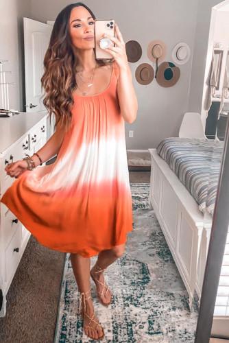 Orange Ombre Tie-dye Sleeveless Flowy Dress LC61966-14