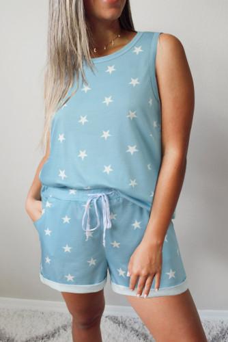 Light Blue Star Print Tank Top and Drawstring Shorts Lounge Set LC4511019-4