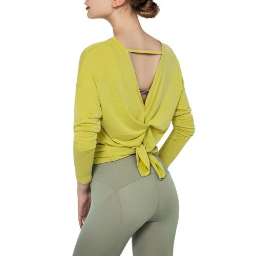 Yellow Butterfly Back Long Sleeve Yoga Tee TQE17165-7