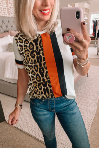 Leopard Colorblock Mixed Print T-shirt LC2522939-1