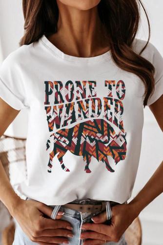 White Prone To Wander Western Desert Bull Print Tee LC2522747-1