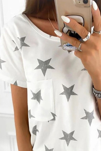 White Casual Star Pocket Tee LC2524279-1