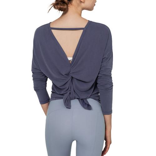 Navy Blue Butterfly Back Long Sleeve Yoga Tee TQE17165-34