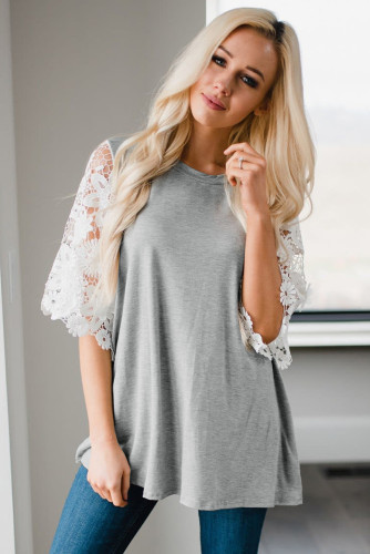Gray Lace Sleeves Tunic Top LC2515455-11