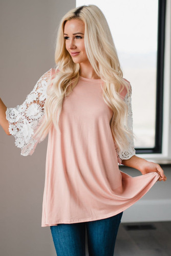 Pink Lace Sleeves Tunic Top LC2515455-10