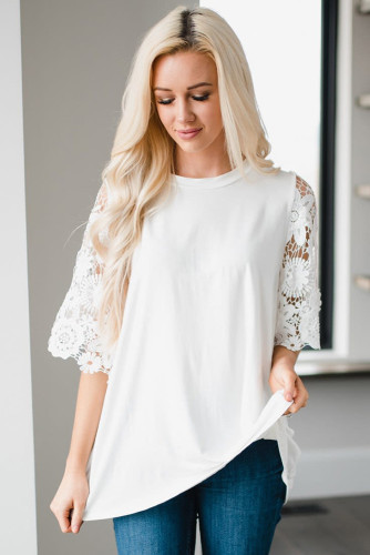 White Lace Sleeves Tunic Top LC2515455-1