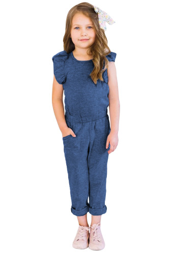 Blue Little Girls Ruffled Shoulder Keyhole Back Jumpsuit with Pockets TZ64004-5